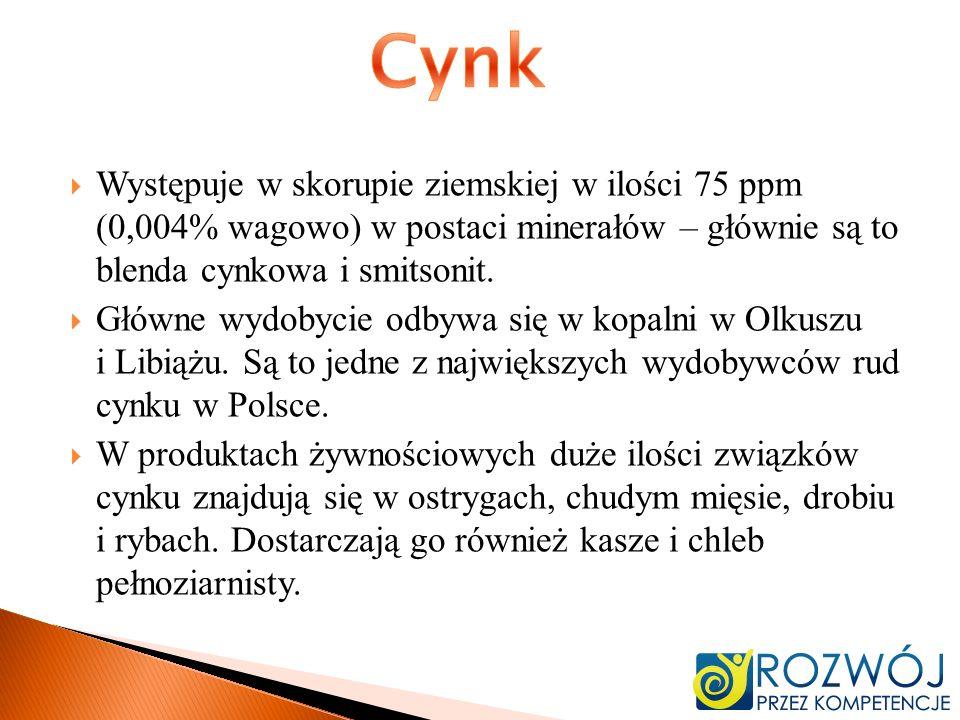 CynkWystępuje w skorupie ziemskiej w ilości 75 ppm (0,004% wagowo) w postaci minerałów – głównie są to blenda cynkowa i smitsonit.