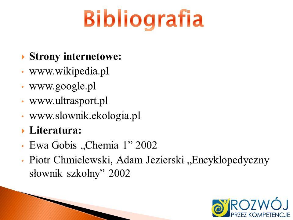 Bibliografia Strony internetowe: www.wikipedia.pl www.google.pl