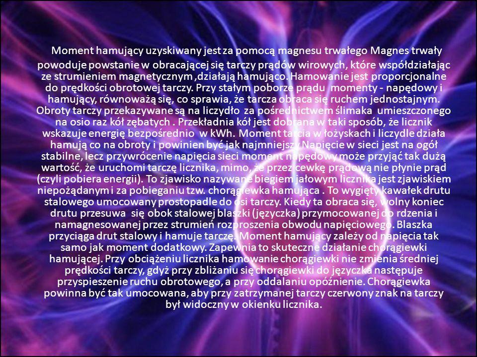 Moment hamujący uzyskiwany jest za pomocą magnesu trwałego Magnes trwały powoduje powstanie w obracającej się tarczy prądów wirowych, które współdziałając ze strumieniem magnetycznym ,działają hamująco.