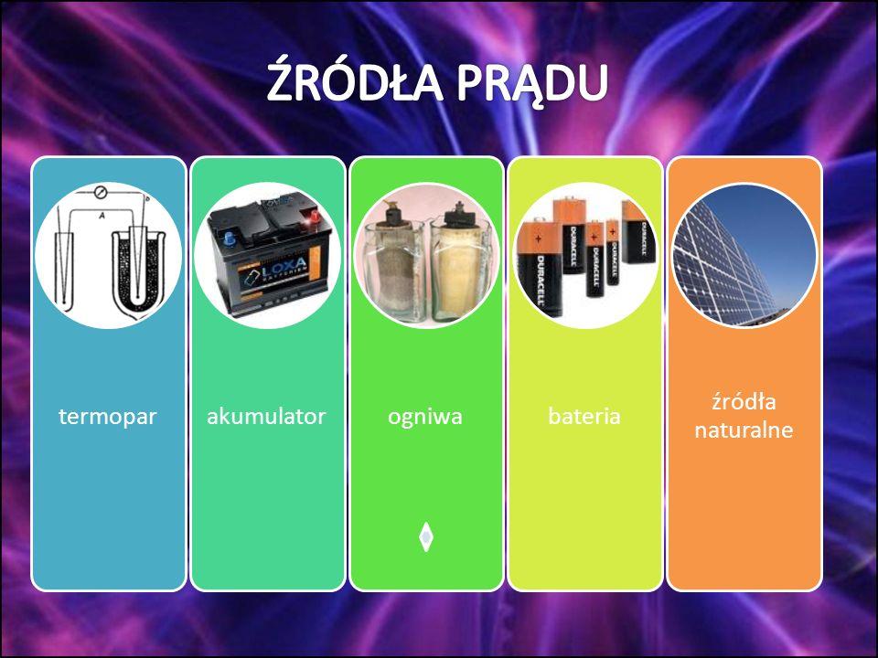 ŹRÓDŁA PRĄDU termopar akumulator ogniwa bateria źródła naturalne