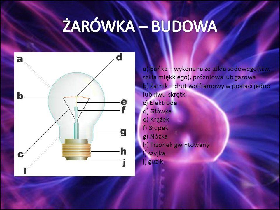 ŻARÓWKA – BUDOWA a) Bańka – wykonana ze szkła sodowego(tzw. szkła miękkiego), próżniowa lub gazowa.