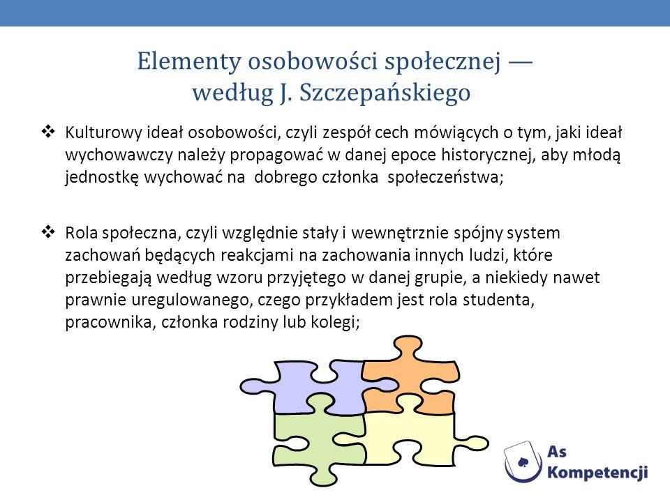 Elementy osobowości społecznej — według J. Szczepańskiego