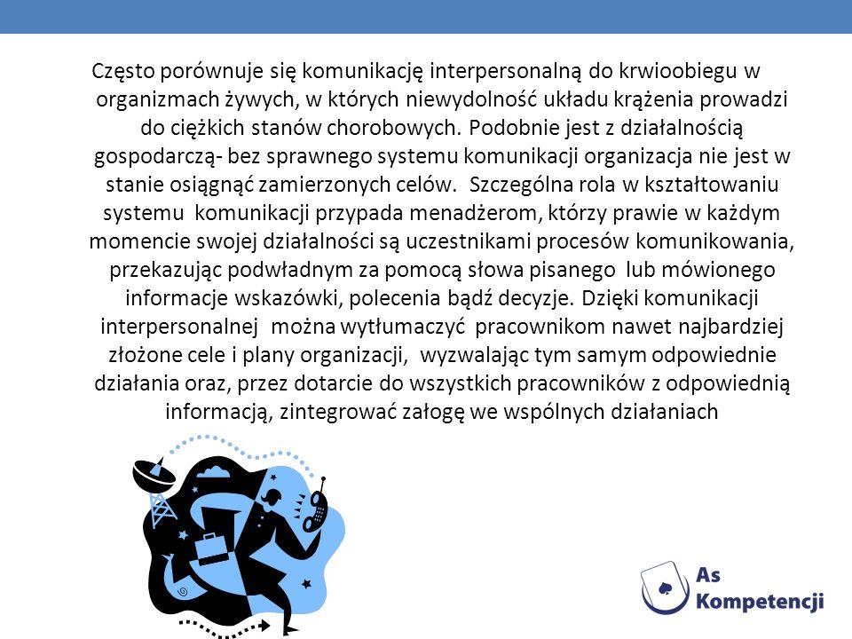 Często porównuje się komunikację interpersonalną do krwioobiegu w organizmach żywych, w których niewydolność układu krążenia prowadzi do ciężkich stanów chorobowych.