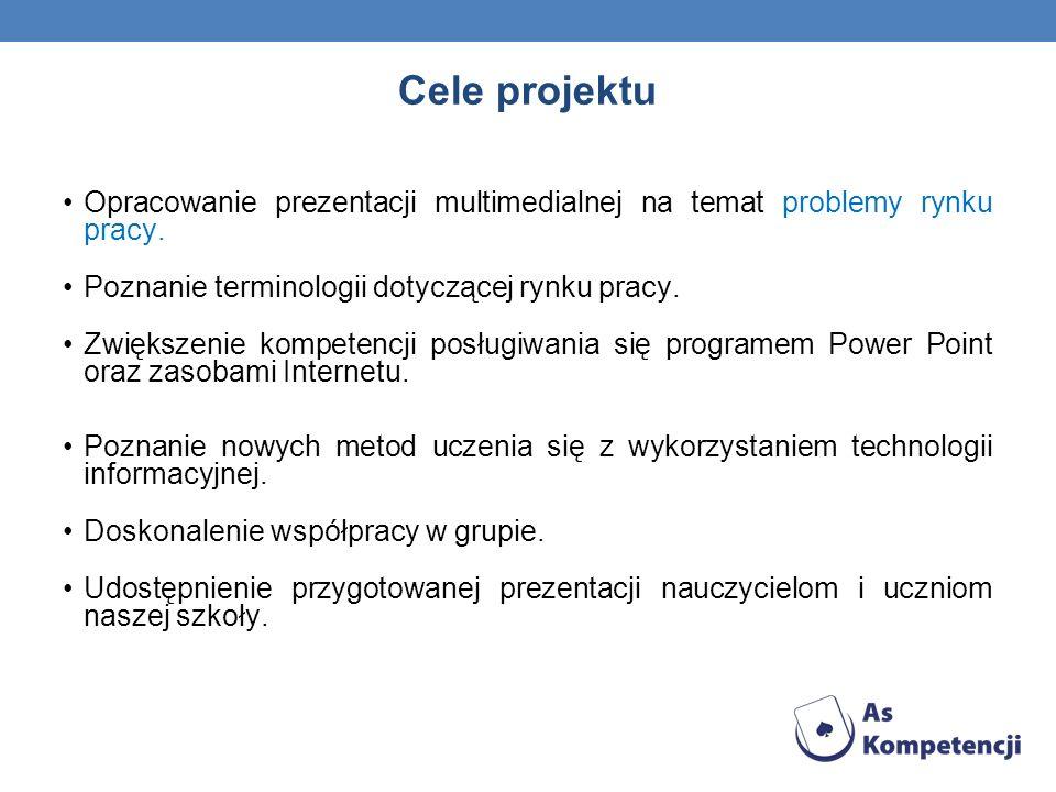 Cele projektu Opracowanie prezentacji multimedialnej na temat problemy rynku pracy. Poznanie terminologii dotyczącej rynku pracy.