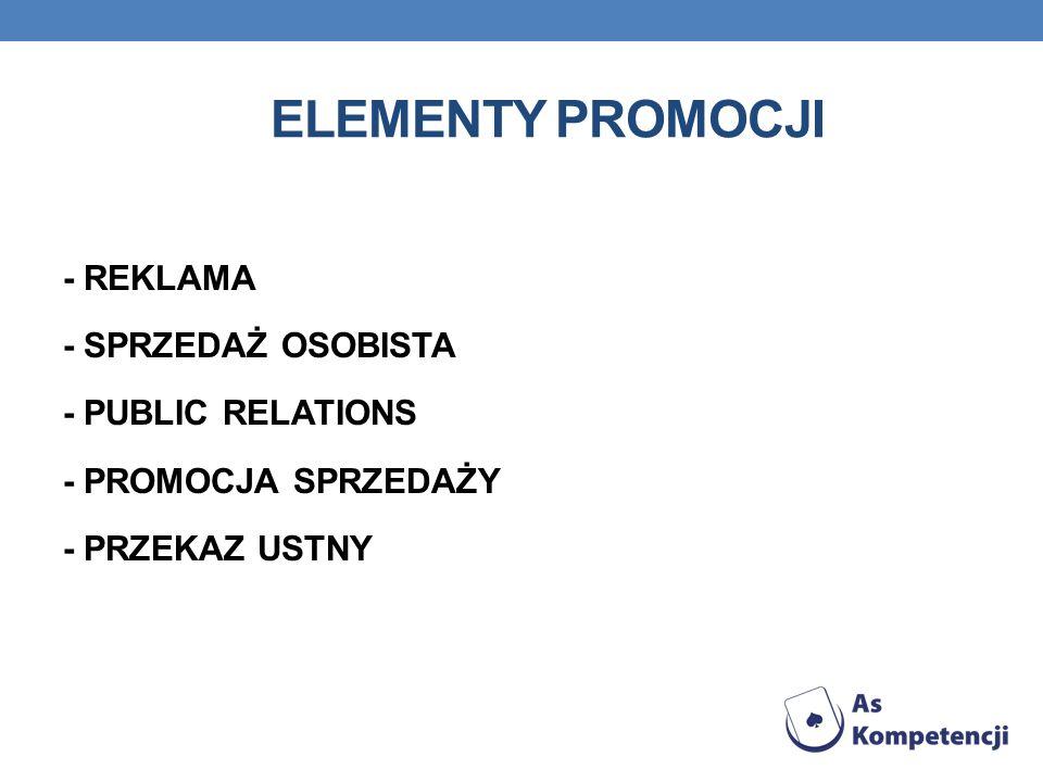 Elementy promocji - REKLAMA - SPRZEDAŻ OSOBISTA - PUBLIC RELATIONS - PROMOCJA SPRZEDAŻY - PRZEKAZ USTNY