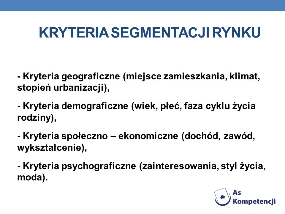 Kryteria segmentacji rynku