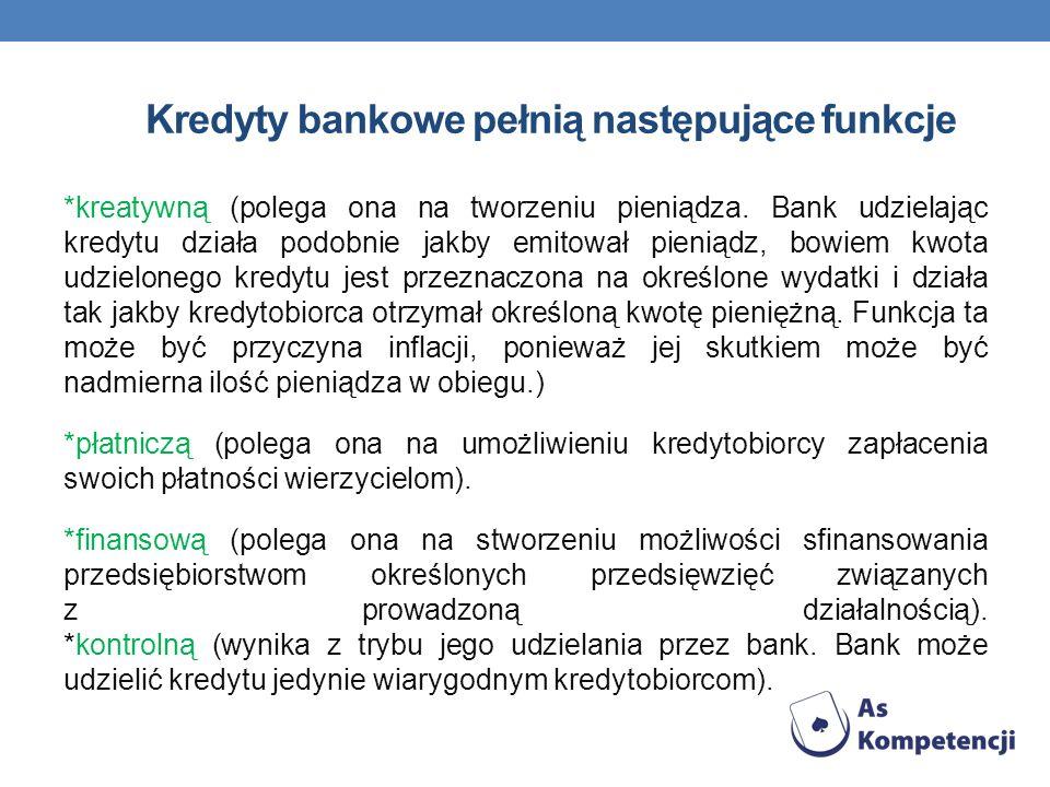 Kredyty bankowe pełnią następujące funkcje