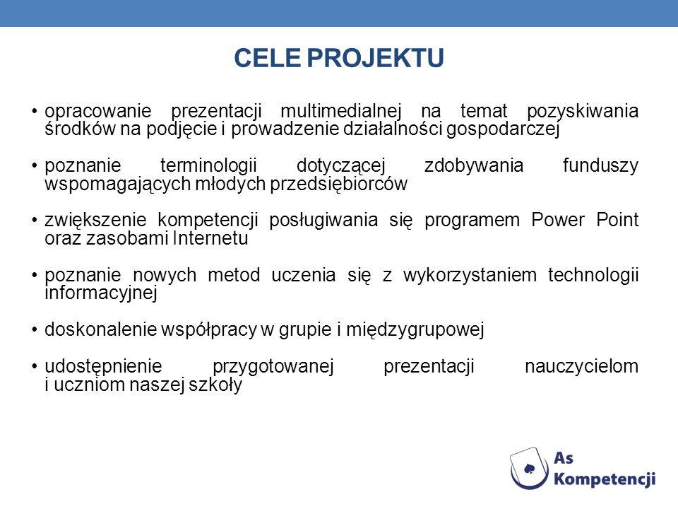 Cele projektu opracowanie prezentacji multimedialnej na temat pozyskiwania środków na podjęcie i prowadzenie działalności gospodarczej.