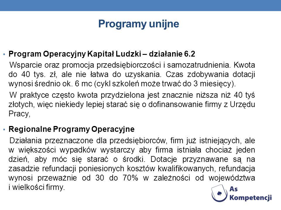 Programy unijne Program Operacyjny Kapitał Ludzki – działanie 6.2
