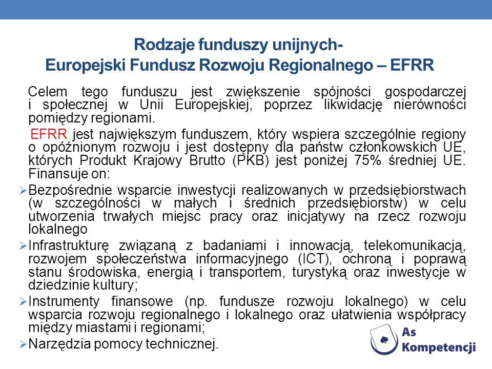 Rodzaje funduszy unijnych- Europejski Fundusz Rozwoju Regionalnego – EFRR