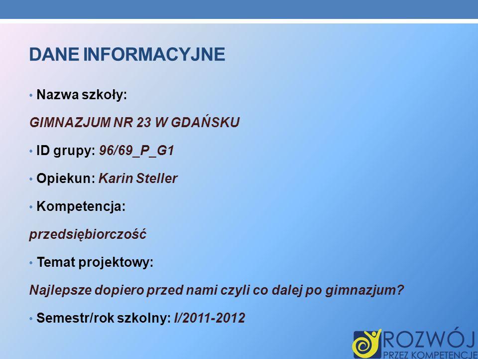 Dane INFORMACYJNE Nazwa szkoły: GIMNAZJUM NR 23 W GDAŃSKU