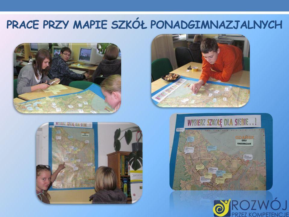 Prace przy mapie szkół ponadgimnazjalnych
