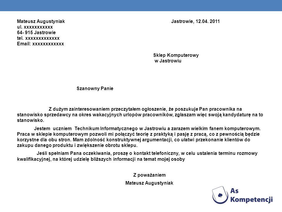 Mateusz Augustyniak Jastrowie, 12. 04. 2011 ul