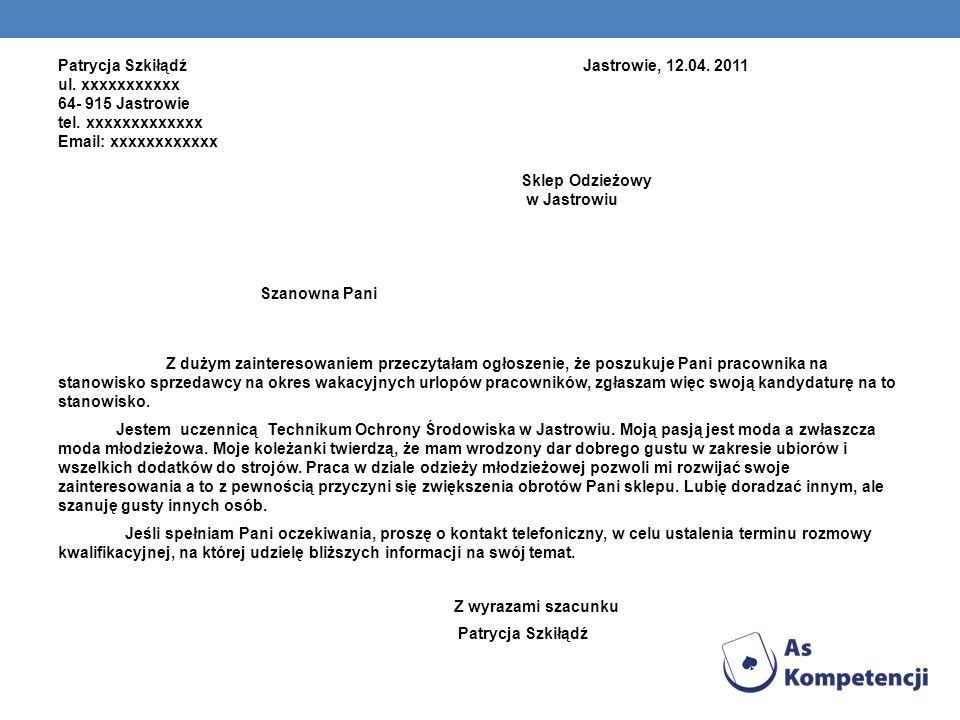 Patrycja Szkiłądź Jastrowie, 12. 04. 2011 ul
