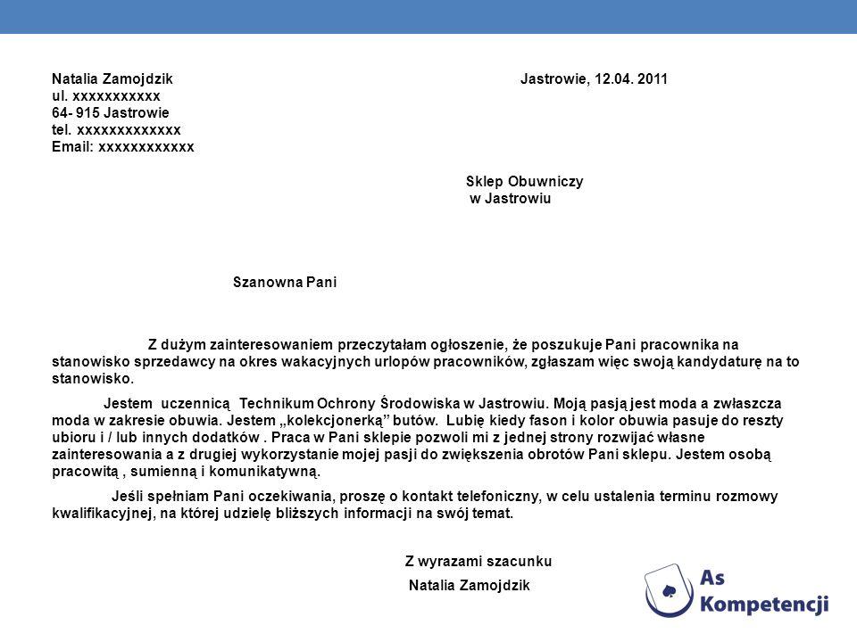 Natalia Zamojdzik Jastrowie, 12. 04. 2011 ul