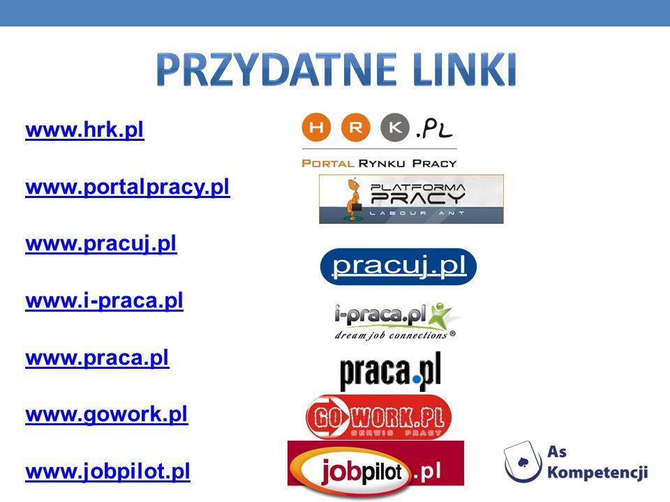 Przydatne linki www.hrk.pl www.portalpracy.pl www.pracuj.pl www.i-praca.pl www.praca.pl www.gowork.pl www.jobpilot.pl