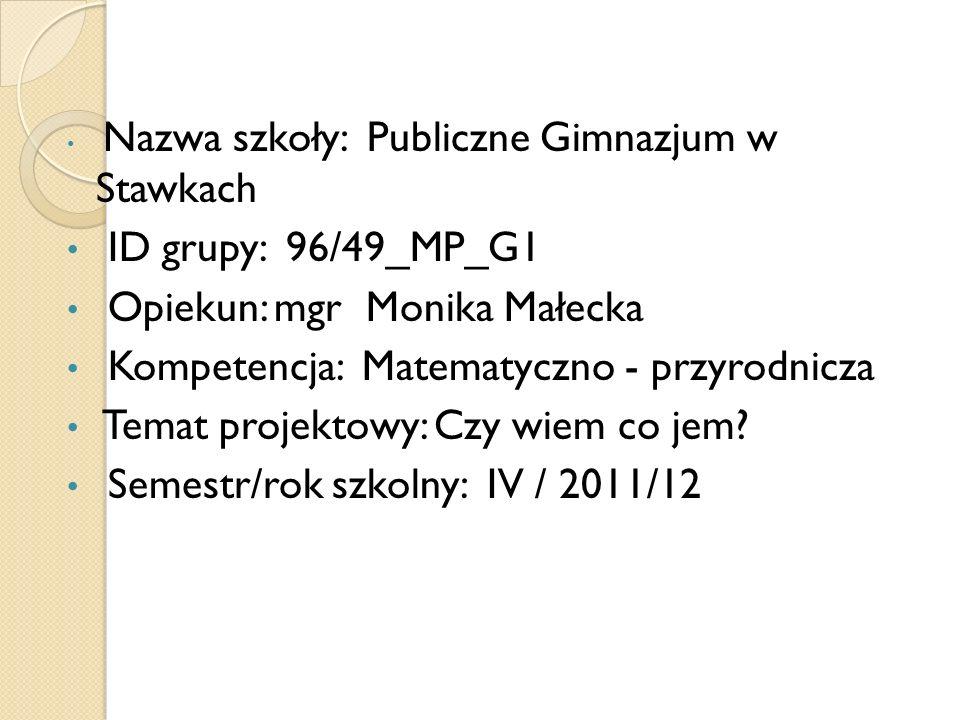 Opiekun: mgr Monika Małecka Kompetencja: Matematyczno - przyrodnicza