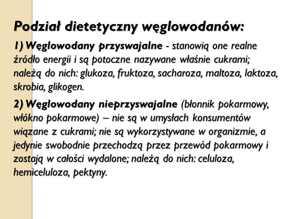 Podział dietetyczny węglowodanów: