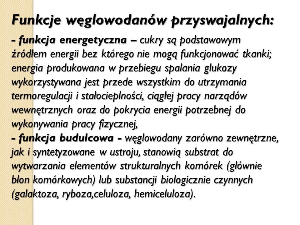 Funkcje węglowodanów przyswajalnych: