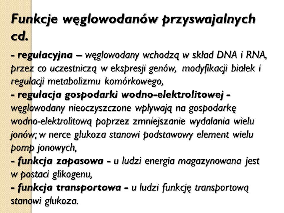 Funkcje węglowodanów przyswajalnych cd.