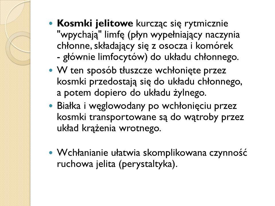 Kosmki jelitowe kurcząc się rytmicznie wpychają limfę (płyn wypełniający naczynia chłonne, składający się z osocza i komórek - głównie limfocytów) do układu chłonnego.