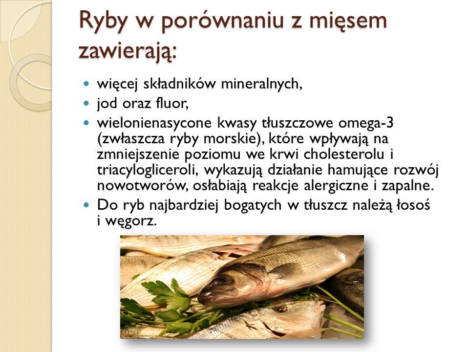 Ryby w porównaniu z mięsem zawierają: