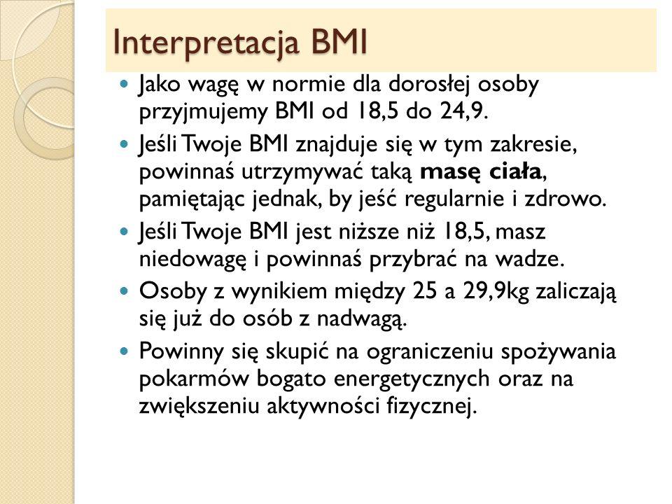 Interpretacja BMI Jako wagę w normie dla dorosłej osoby przyjmujemy BMI od 18,5 do 24,9.