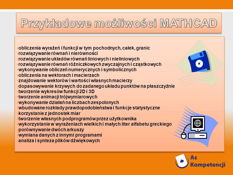 Przykładowe możliwości MATHCAD