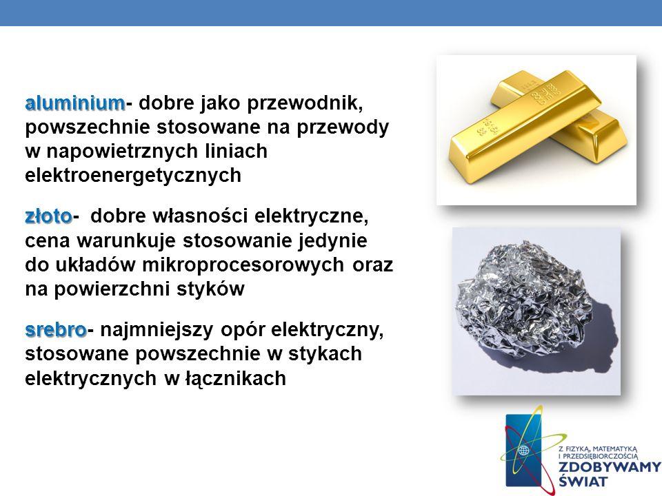 aluminium- dobre jako przewodnik, powszechnie stosowane na przewody w napowietrznych liniach elektroenergetycznych złoto- dobre własności elektryczne, cena warunkuje stosowanie jedynie do układów mikroprocesorowych oraz na powierzchni styków srebro- najmniejszy opór elektryczny, stosowane powszechnie w stykach elektrycznych w łącznikach