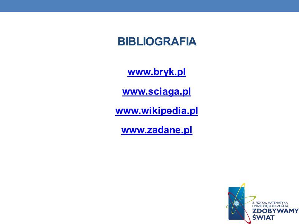 www.bryk.pl www.sciaga.pl www.wikipedia.pl www.zadane.pl