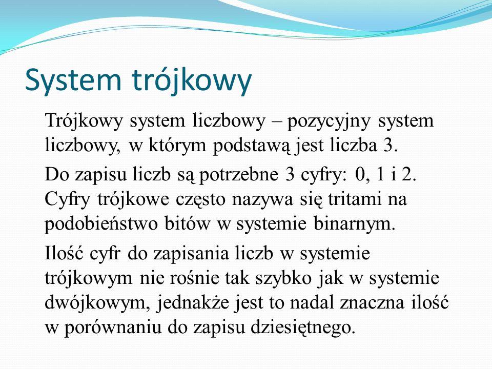 System trójkowyTrójkowy system liczbowy – pozycyjny system liczbowy, w którym podstawą jest liczba 3.