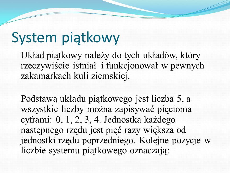 System piątkowy Układ piątkowy należy do tych układów, który rzeczywiście istniał i funkcjonował w pewnych zakamarkach kuli ziemskiej.