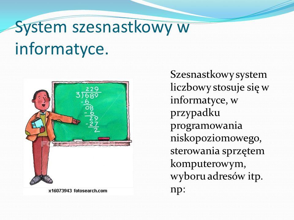 System szesnastkowy w informatyce.