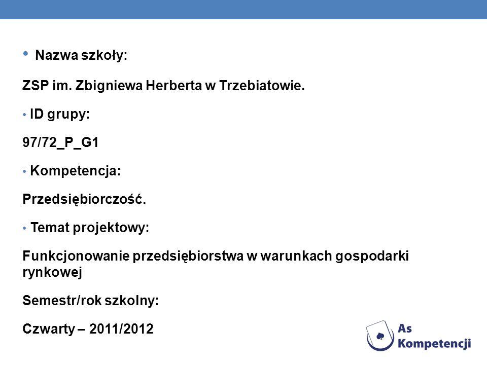 Nazwa szkoły: ZSP im. Zbigniewa Herberta w Trzebiatowie. ID grupy: