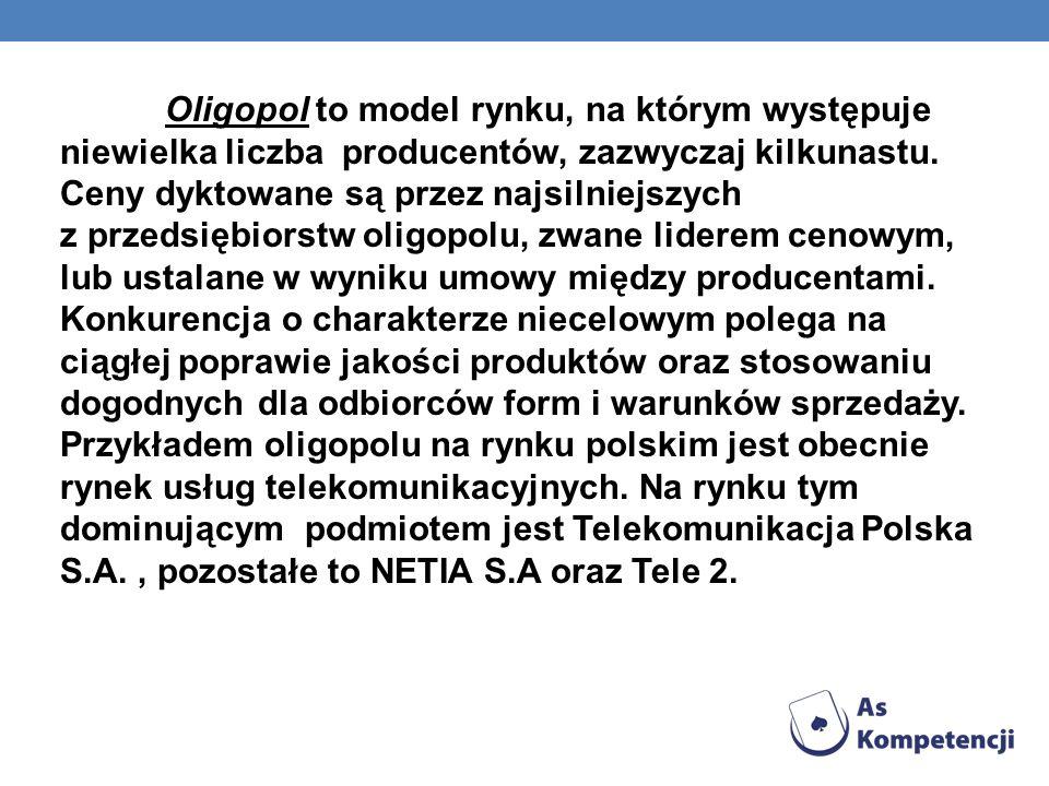 Oligopol to model rynku, na którym występuje niewielka liczba producentów, zazwyczaj kilkunastu.