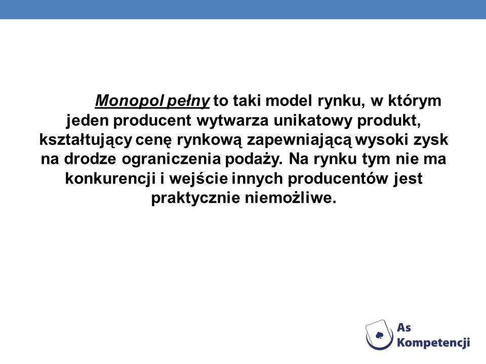 Monopol pełny to taki model rynku, w którym jeden producent wytwarza unikatowy produkt, kształtujący cenę rynkową zapewniającą wysoki zysk na drodze ograniczenia podaży.