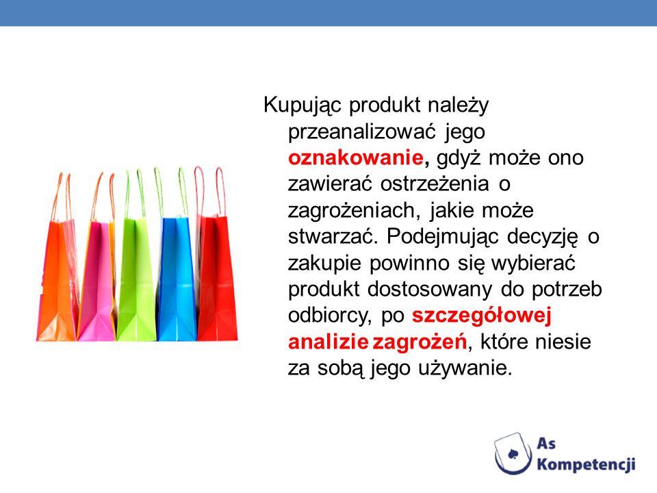 Kupując produkt należy przeanalizować jego oznakowanie, gdyż może ono zawierać ostrzeżenia o zagrożeniach, jakie może stwarzać.