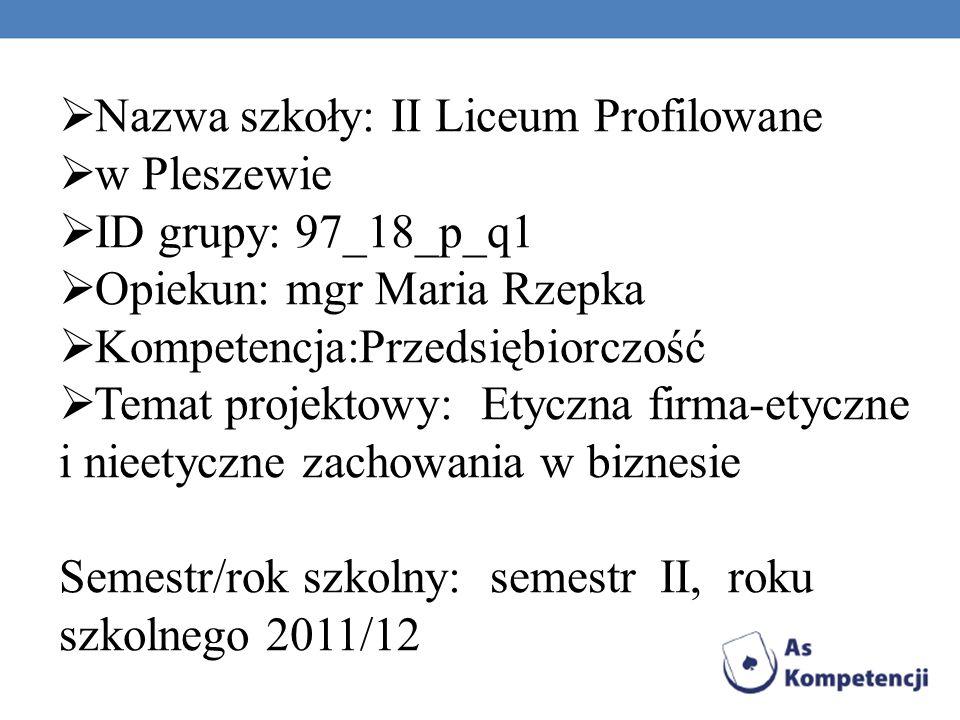Nazwa szkoły: II Liceum Profilowane