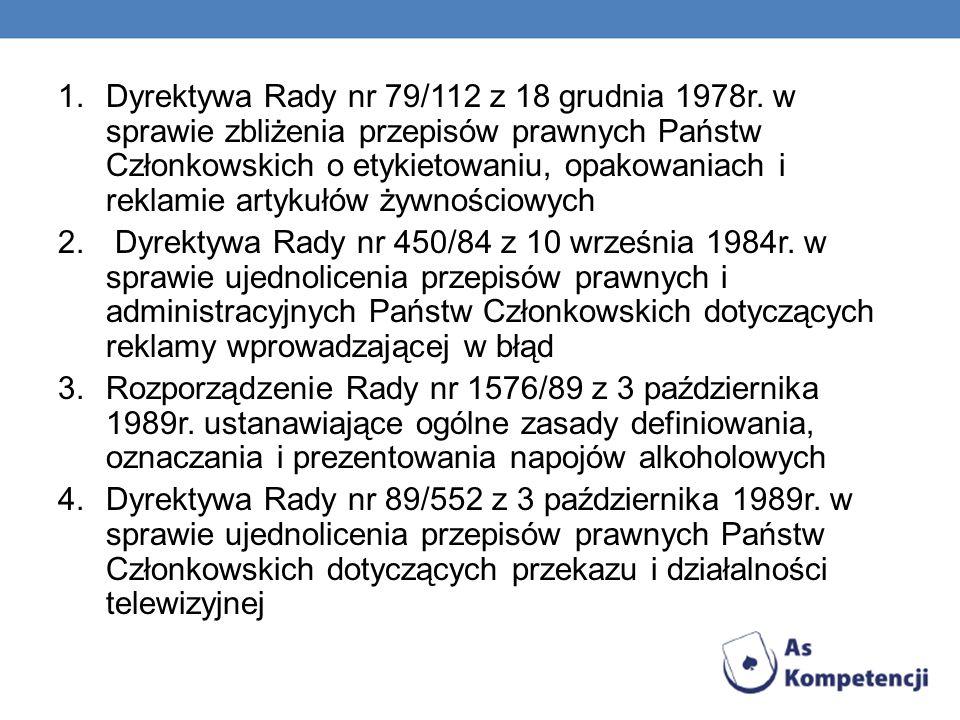 Dyrektywa Rady nr 79/112 z 18 grudnia 1978r
