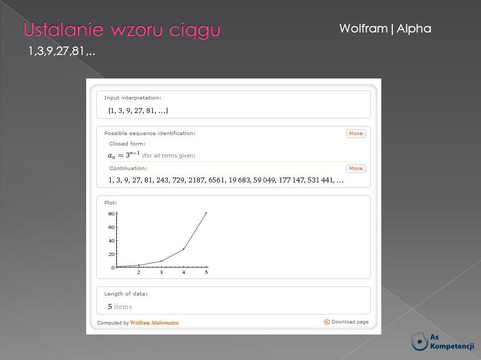 Ustalanie wzoru ciągu Wolfram|Alpha 1,3,9,27,81,..