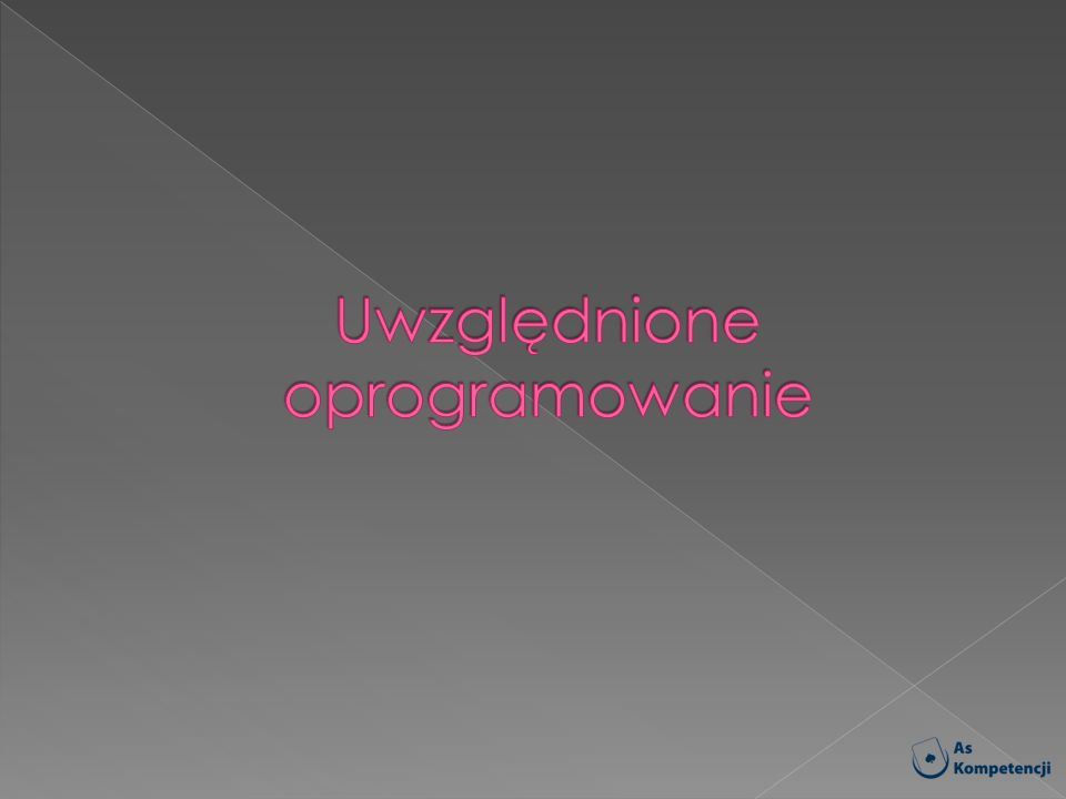Uwzględnione oprogramowanie
