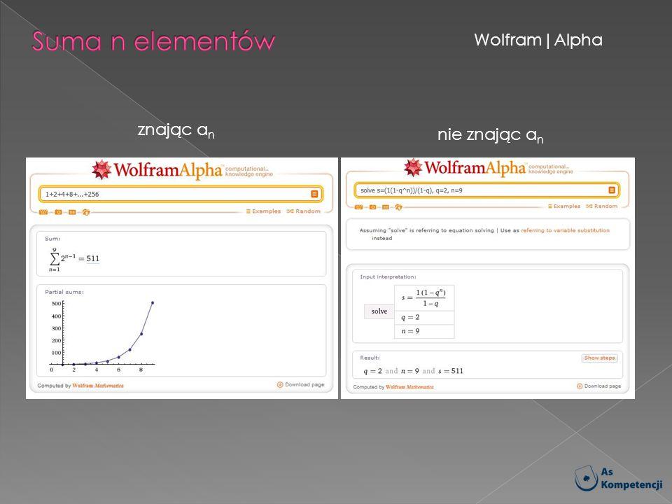 Suma n elementów Wolfram|Alpha znając an nie znając an