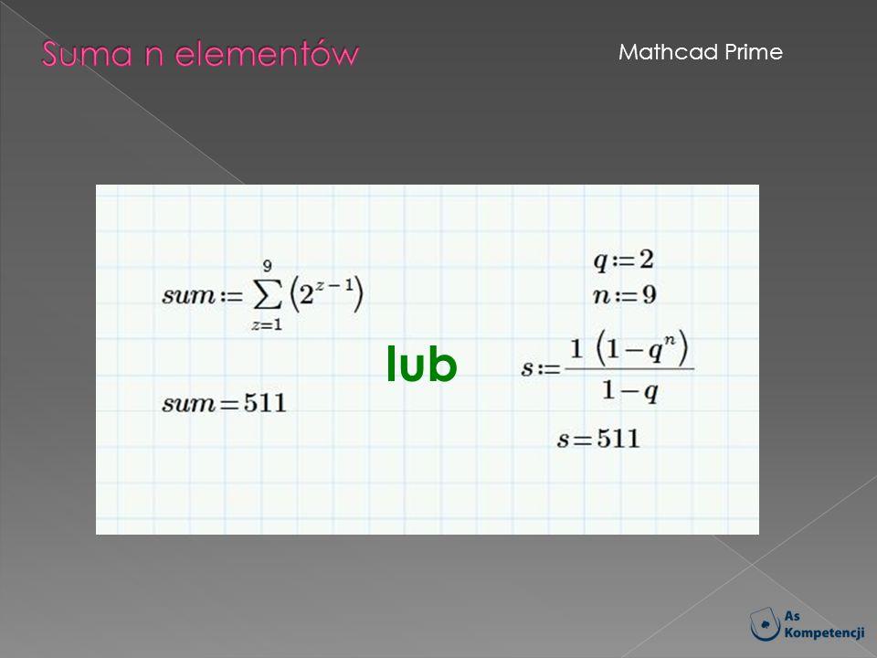 Suma n elementów Mathcad Prime lub