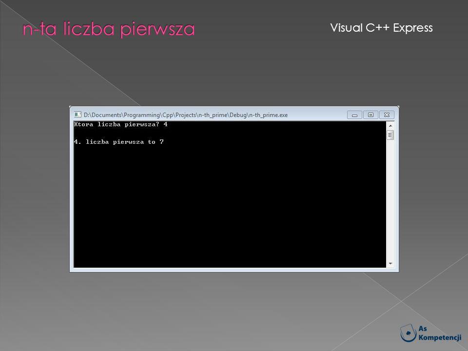 n-ta liczba pierwsza Visual C++ Express