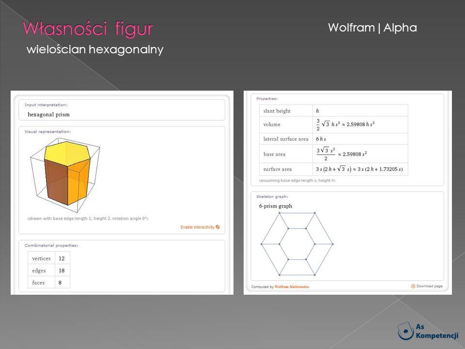 Własności figur Wolfram|Alpha wielościan hexagonalny