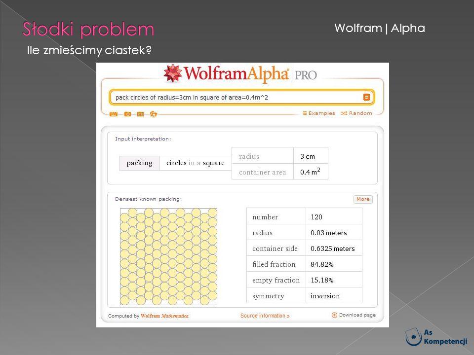 Słodki problem Wolfram|Alpha Ile zmieścimy ciastek