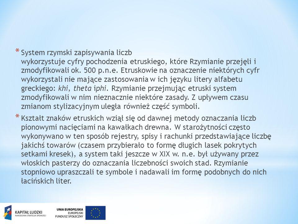 System rzymski zapisywania liczb wykorzystuje cyfry pochodzenia etruskiego, które Rzymianie przejęli i zmodyfikowali ok. 500 p.n.e. Etruskowie na oznaczenie niektórych cyfr wykorzystali nie mające zastosowania w ich języku litery alfabetu greckiego: khi, theta iphi. Rzymianie przejmując etruski system zmodyfikowali w nim nieznacznie niektóre zasady. Z upływem czasu zmianom stylizacyjnym uległa również część symboli.