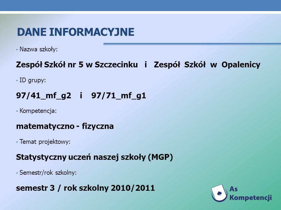 Dane INFORMACYJNE Nazwa szkoły: Zespół Szkół nr 5 w Szczecinku i Zespół Szkół w Opalenicy. ID grupy: