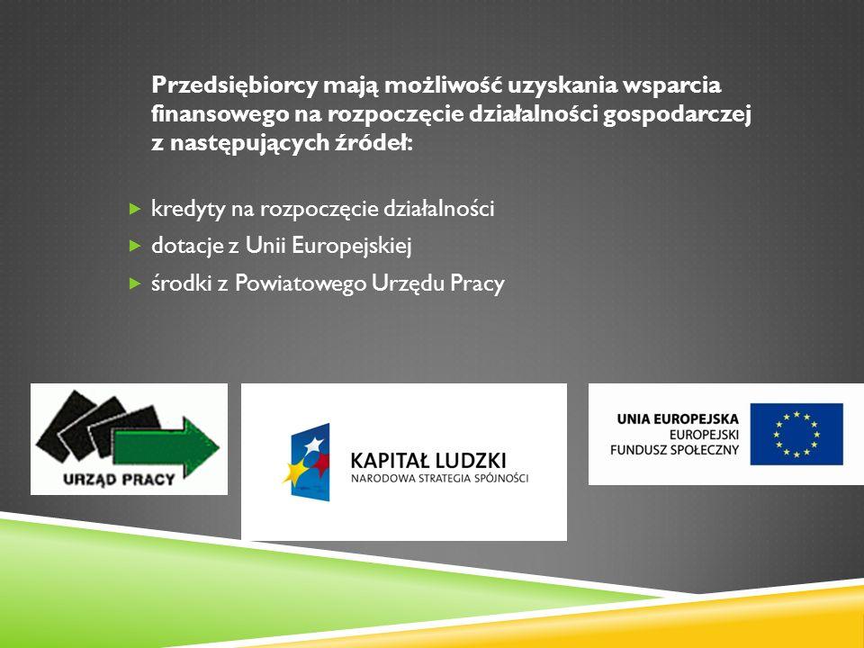 Przedsiębiorcy mają możliwość uzyskania wsparcia finansowego na rozpoczęcie działalności gospodarczej z następujących źródeł: