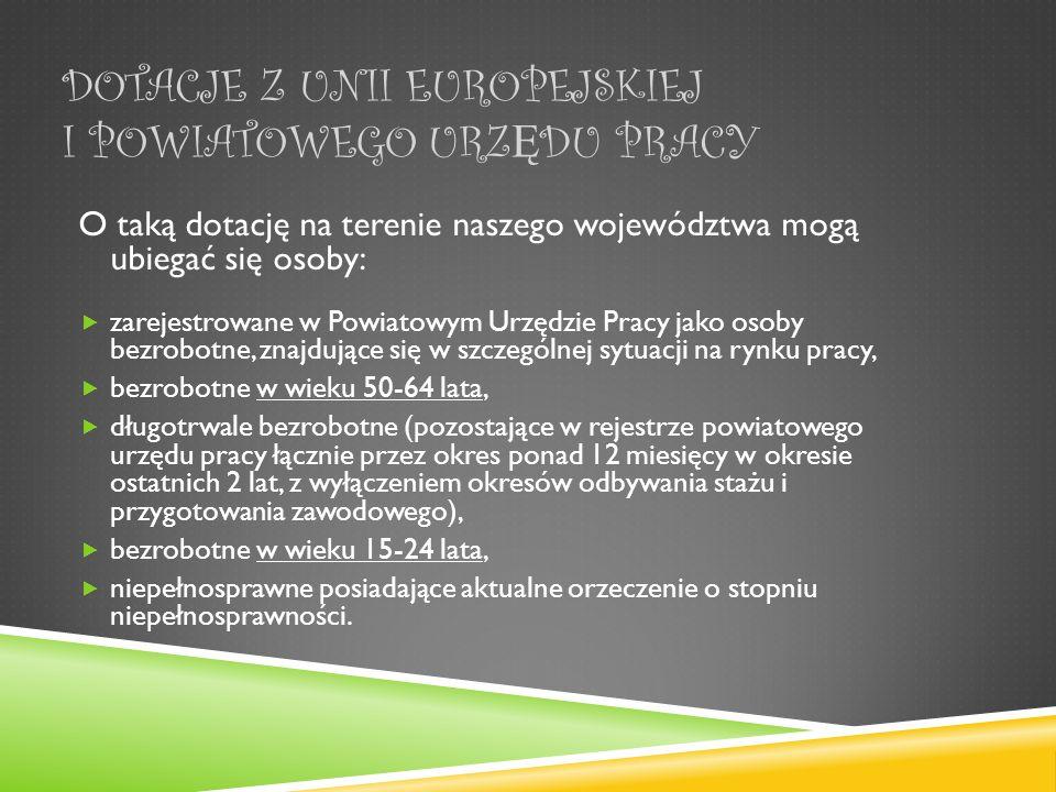 Dotacje z Unii Europejskiej i Powiatowego Urzędu Pracy